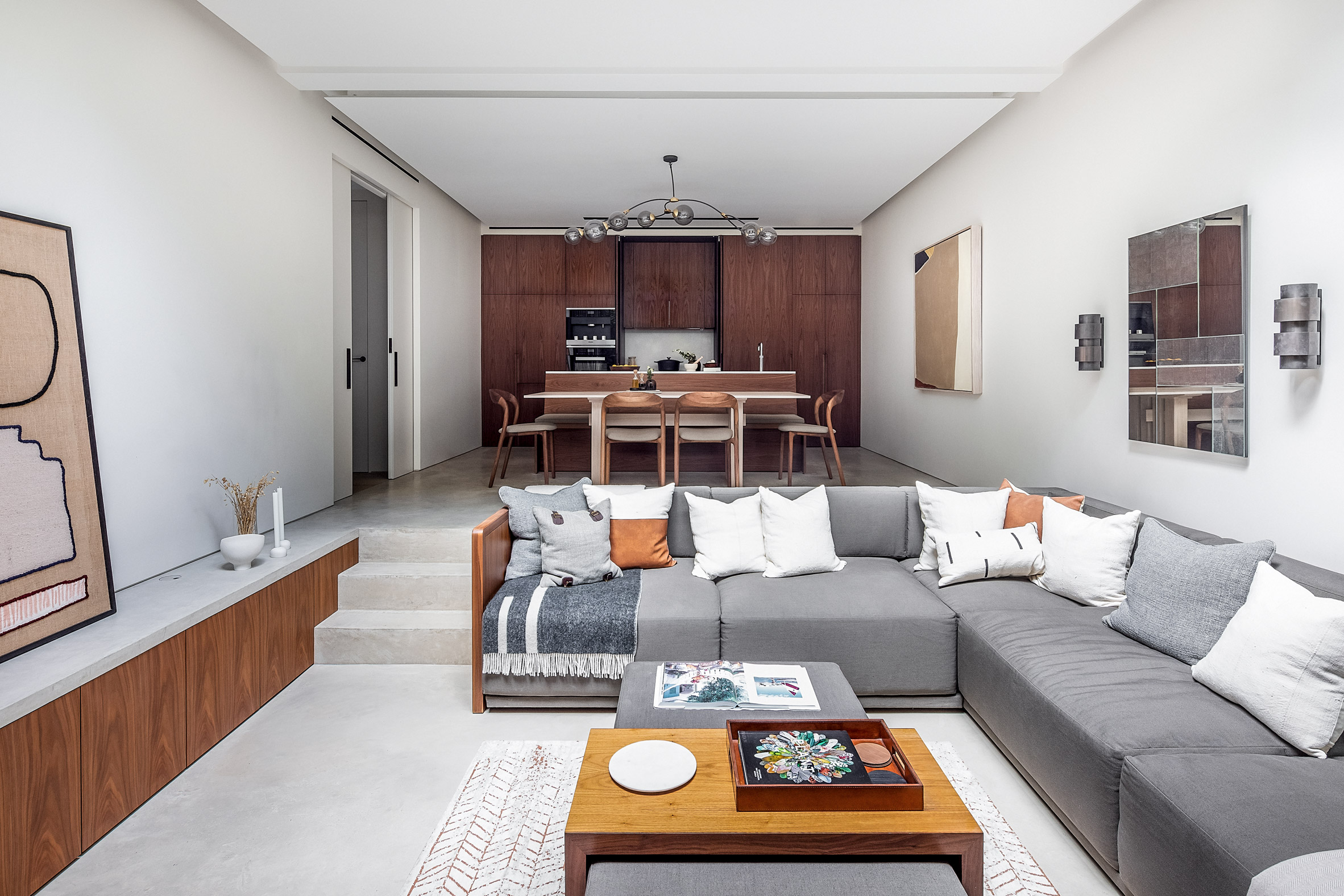 Sunken living room and kitchen of the Knightsbridge Mews House