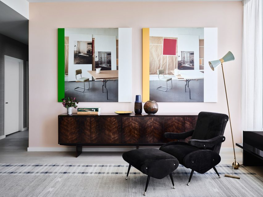 Living room of San Francisco penthouse exhibition by Gabriel & Guillaume