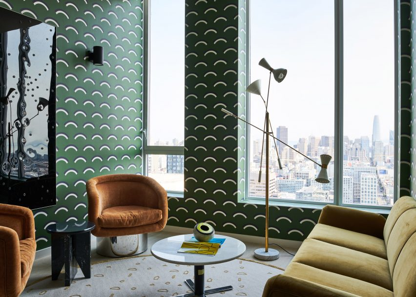 Office with green wallpaper and velvet furniture from San Francisco penthouse exhibition by Gabriel & Guillaume