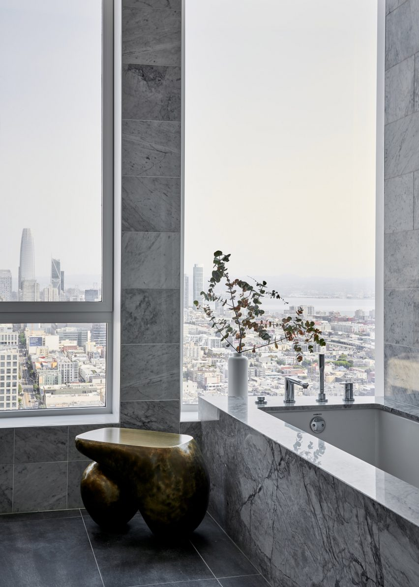 Marble bathroom of Fifteen Fifty penthouse exhibition by Gabriel & Guillaume