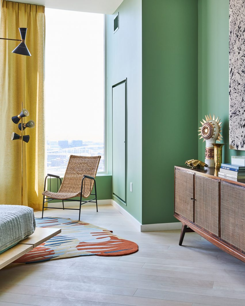 Master bedroom with green walls from Fifteen Fifty penthouse exhibition by Gabriel & Guillaume