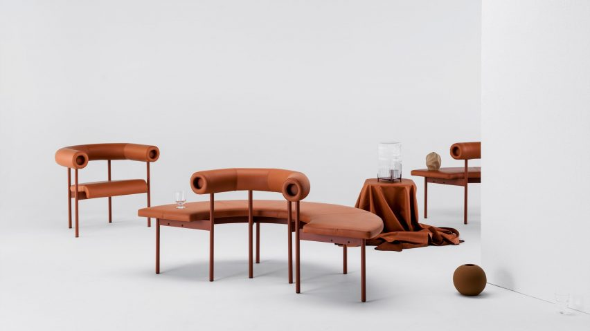 Font sofa system armchair and curved sofa