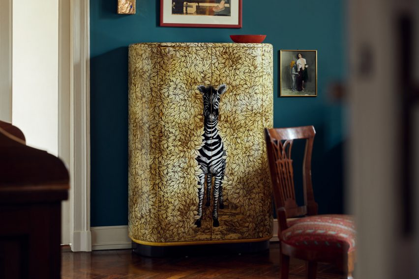 Zebra curved cabinet by Fornasetti