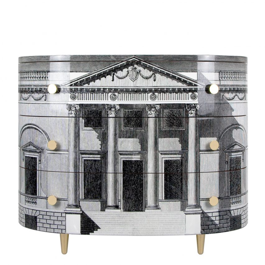 Palladiana curved chest of drawers by Fornasetti