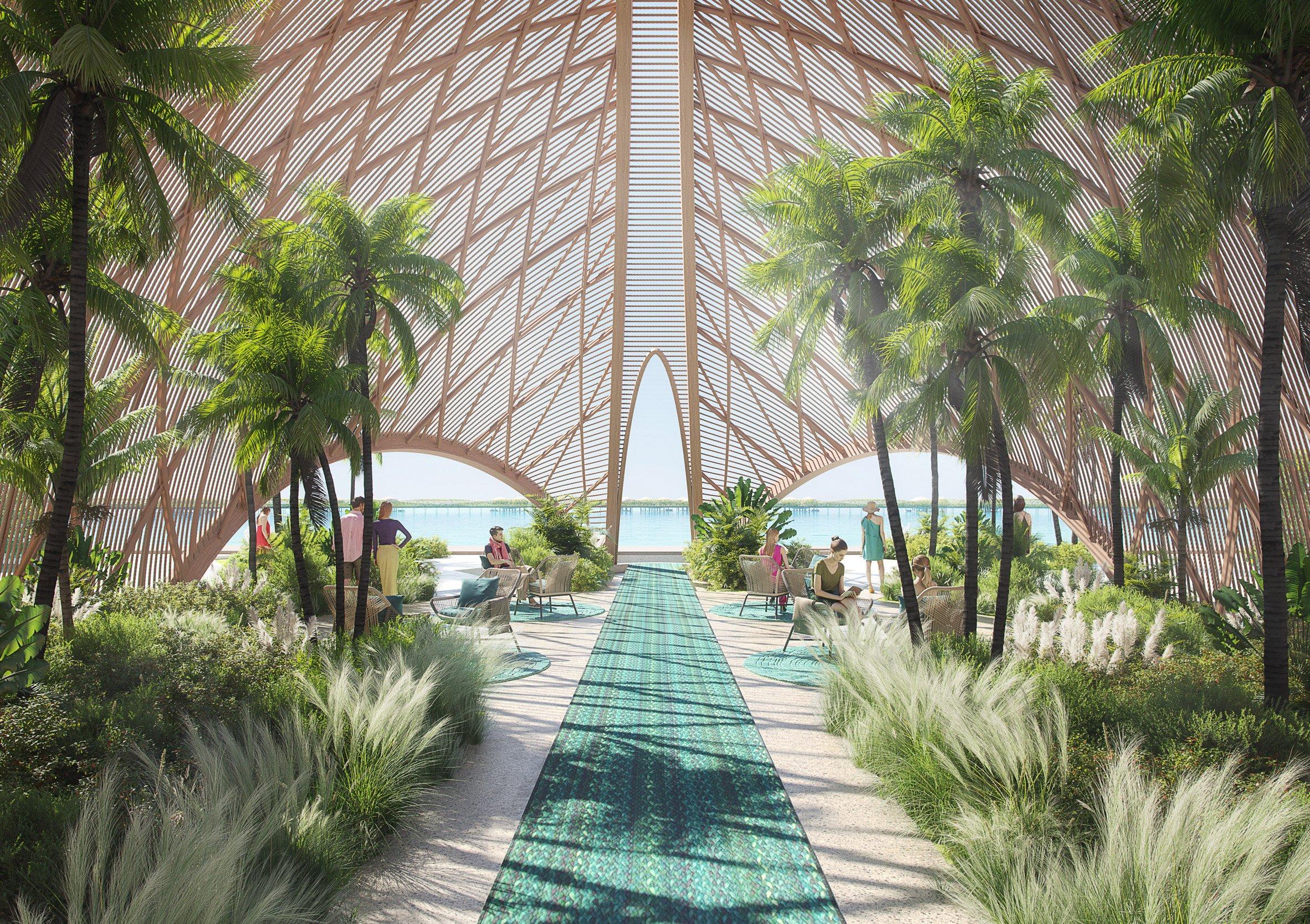Timber-roofed hotel in Saudi Arabia