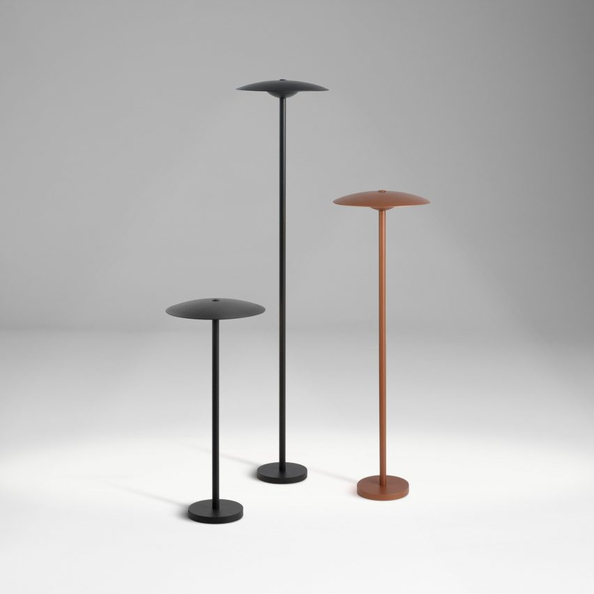 Three Ginger bollard outdoor lamps by Marset