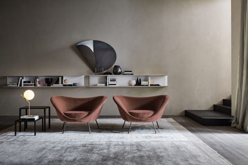 Gio Ponti armchair via Molteni&C in a living room