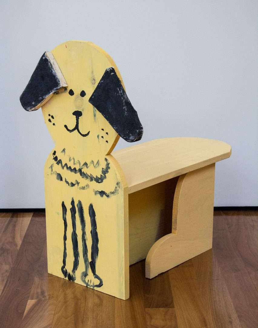 Dog-shaped chair from Grade Three Chairs project by Bruce Edelstein at Trinity School