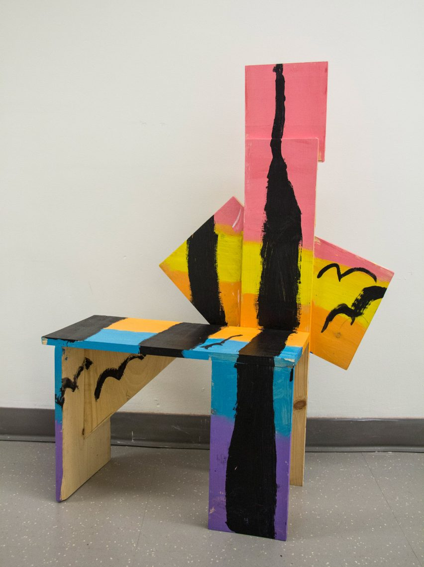 Abstract, painted chair from Grade Three Chairs project by Bruce Edelstein at Trinity School