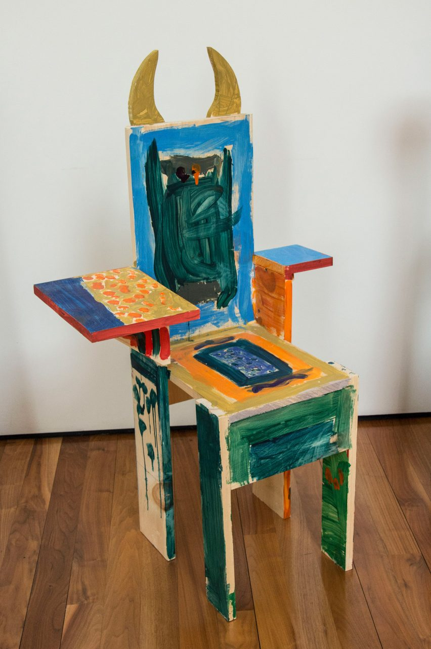 Colourful chair with horns from Grade Three Chairs project by Bruce Edelstein at Trinity School
