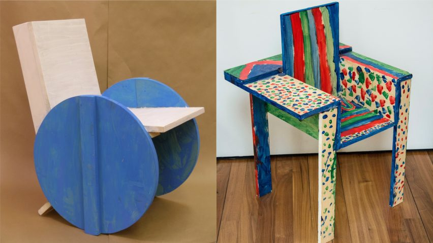 Chairs from Grade Three Chairs project by Bruce Edelstein at Trinity School