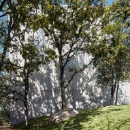 The concrete exterior of the Chapel and Meditation Room