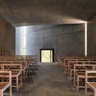The concrete nave of a chapel