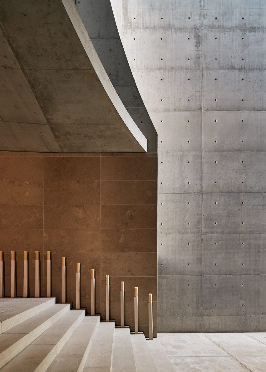 The concrete interiors of a Portuguese chapel