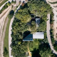 Aerial view of a concrete chapel in Portugal