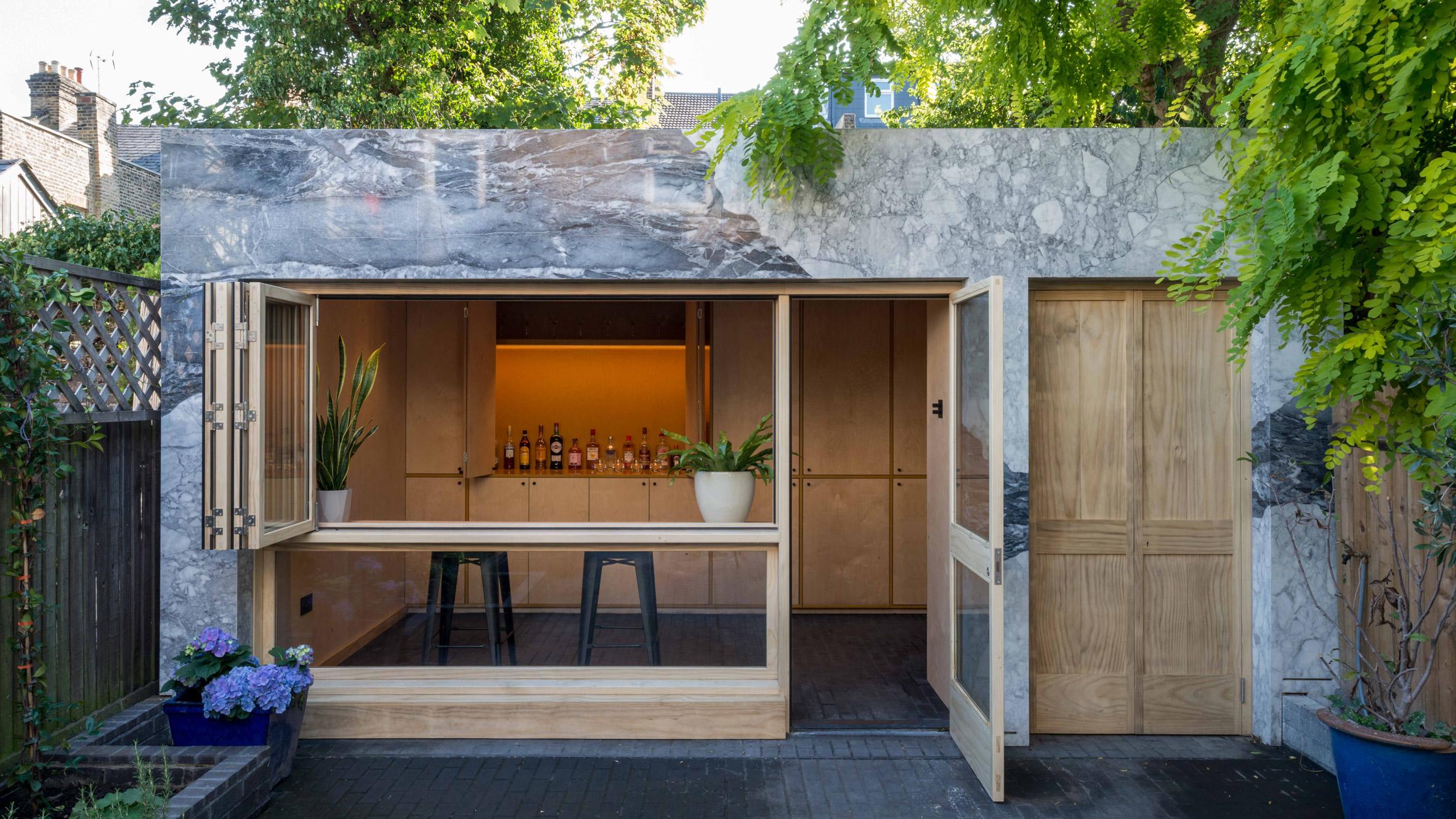 A marble-clad garden room