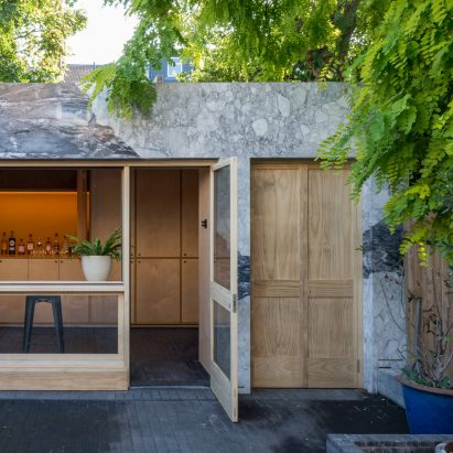 Marble-clad garden room and home office of the Hansler Road extension by Alexander Owen Architecture