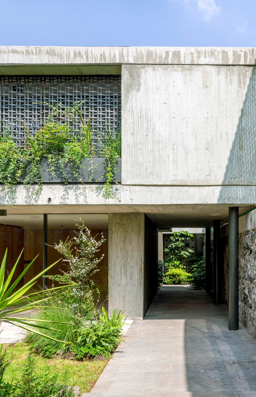 Lattice screens and concrete walls of a house in Mexico City