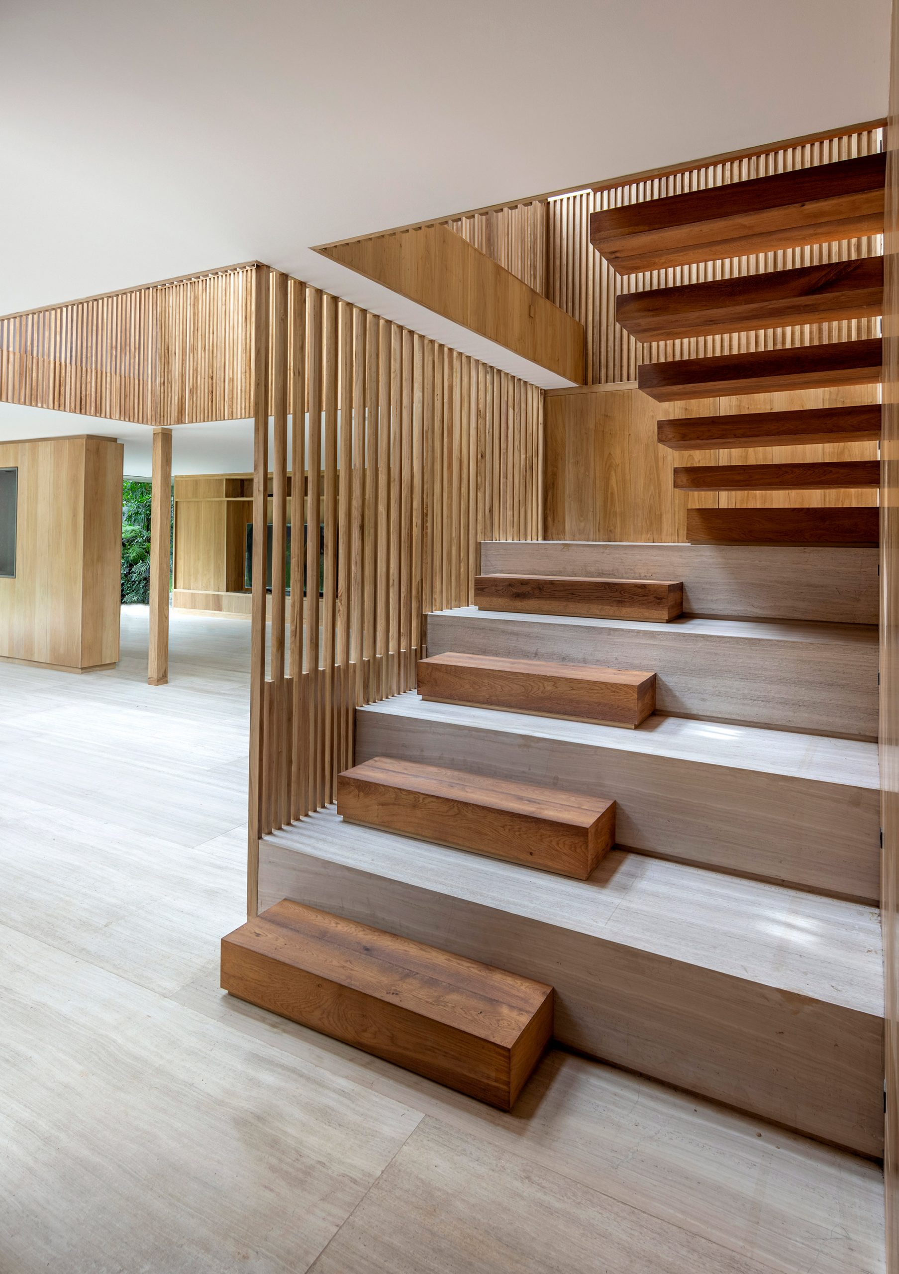 Wooden treads on a staircase for a Mexican house