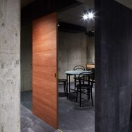 The concrete interiors of a Japanese house