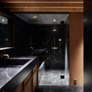 A dark bathroom interior
