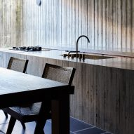 A concrete kitchen in a Japanese house