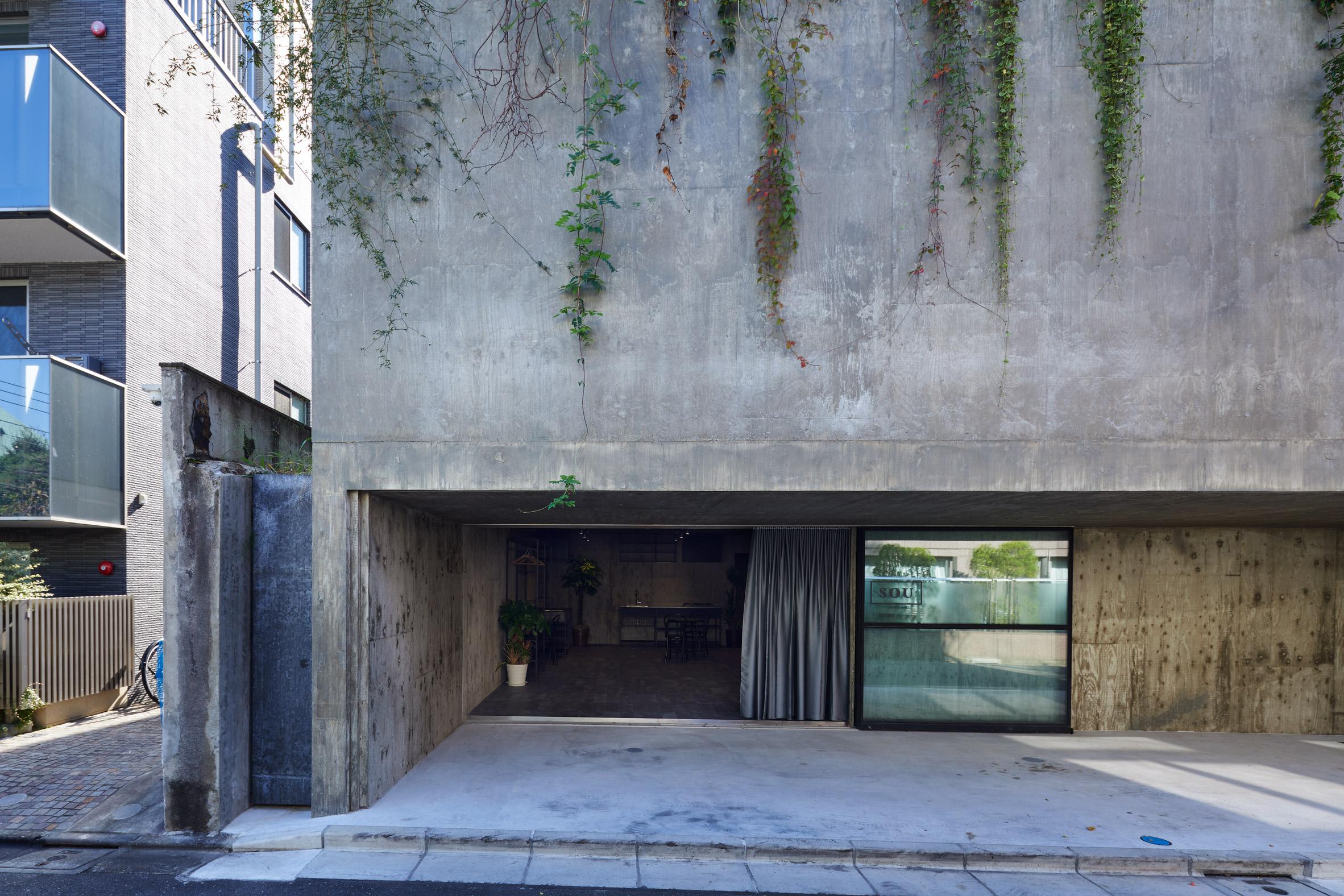 The concrete facade of a Japanese house