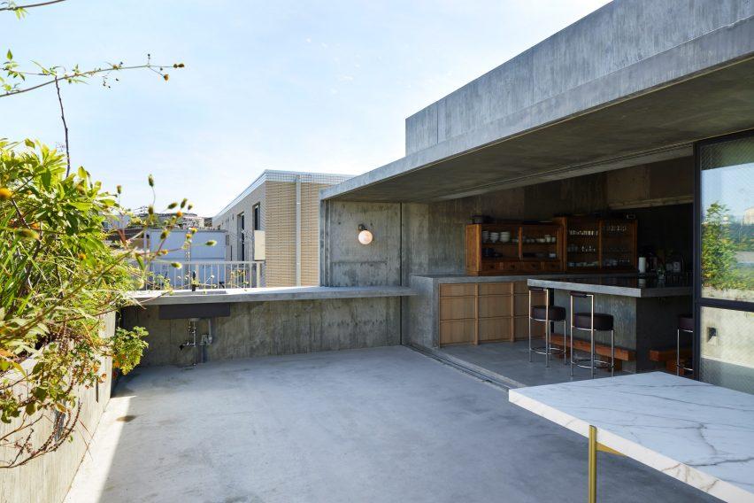 A Japanese restaurant's concrete roof terrace