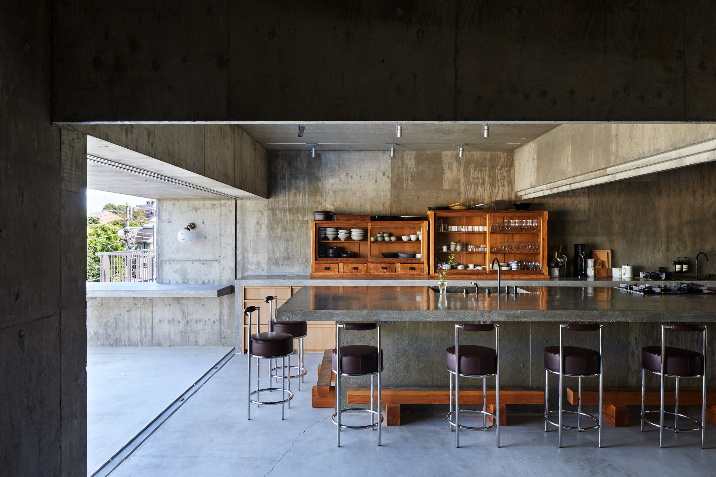 A concrete restaurant interior in Japan