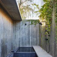 A hidden concrete courtyard of a Japanese house