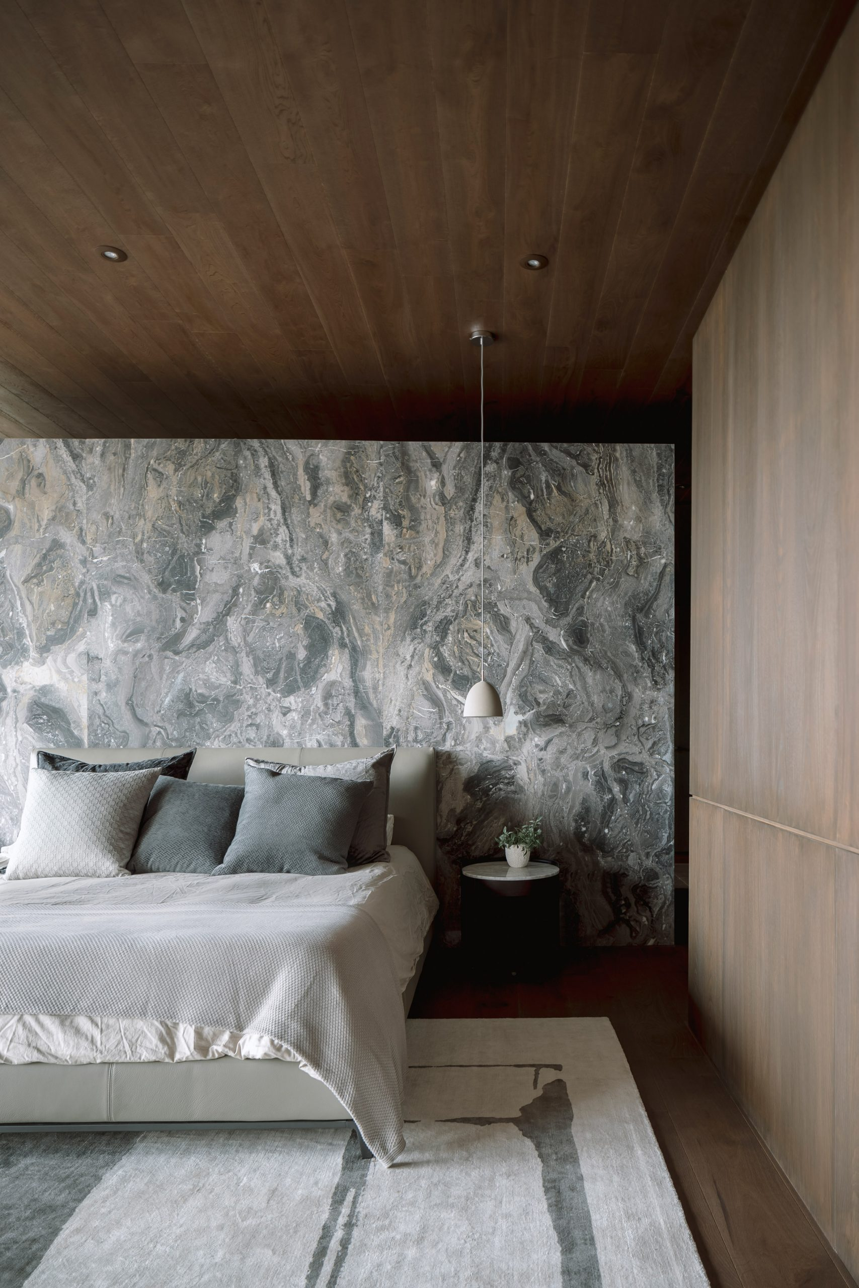 Grey marble in the bedroom of a house in Mexico
