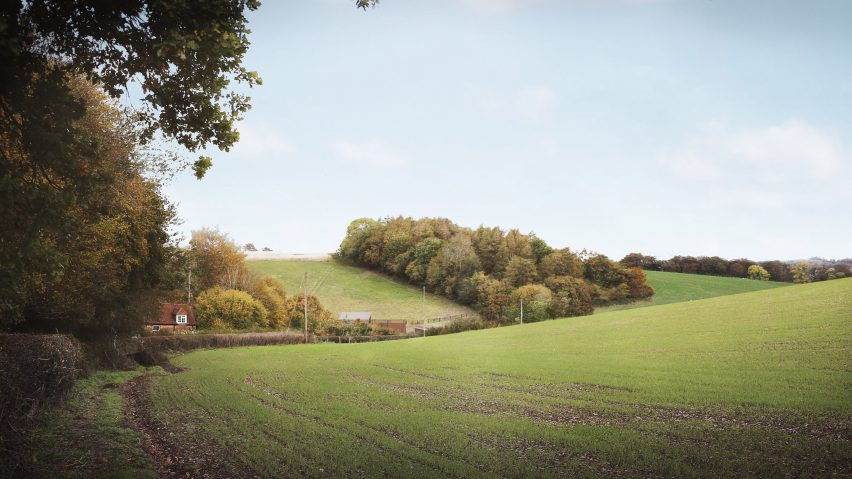 HS2 ventilation shaft disguised as a barn in Chilterns Area of Outstanding Natural Beauty