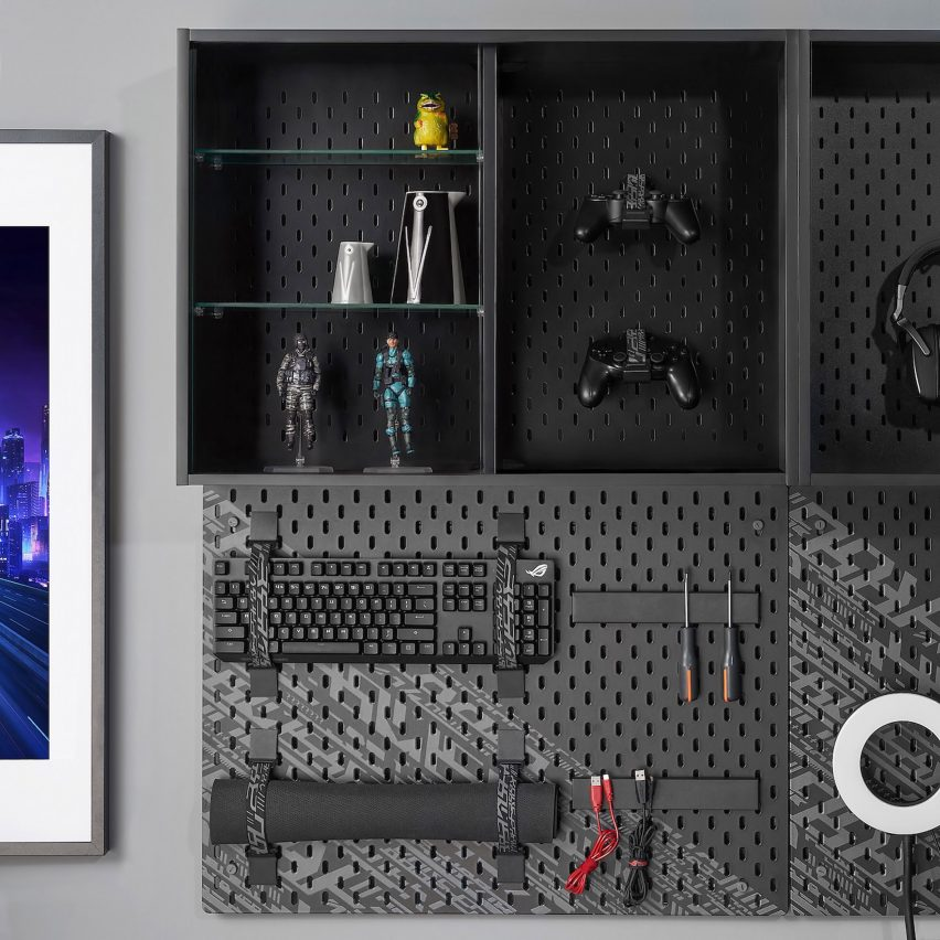 Uppspel pegboard and shelving from gaming furniture collection by IKEA and Republic of Gamers
