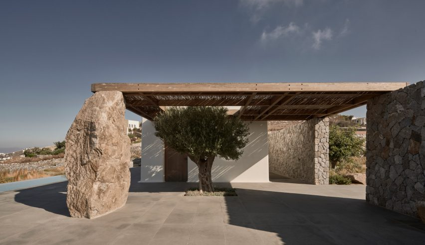 Chestnut wood lattice roof at a Greek holiday home