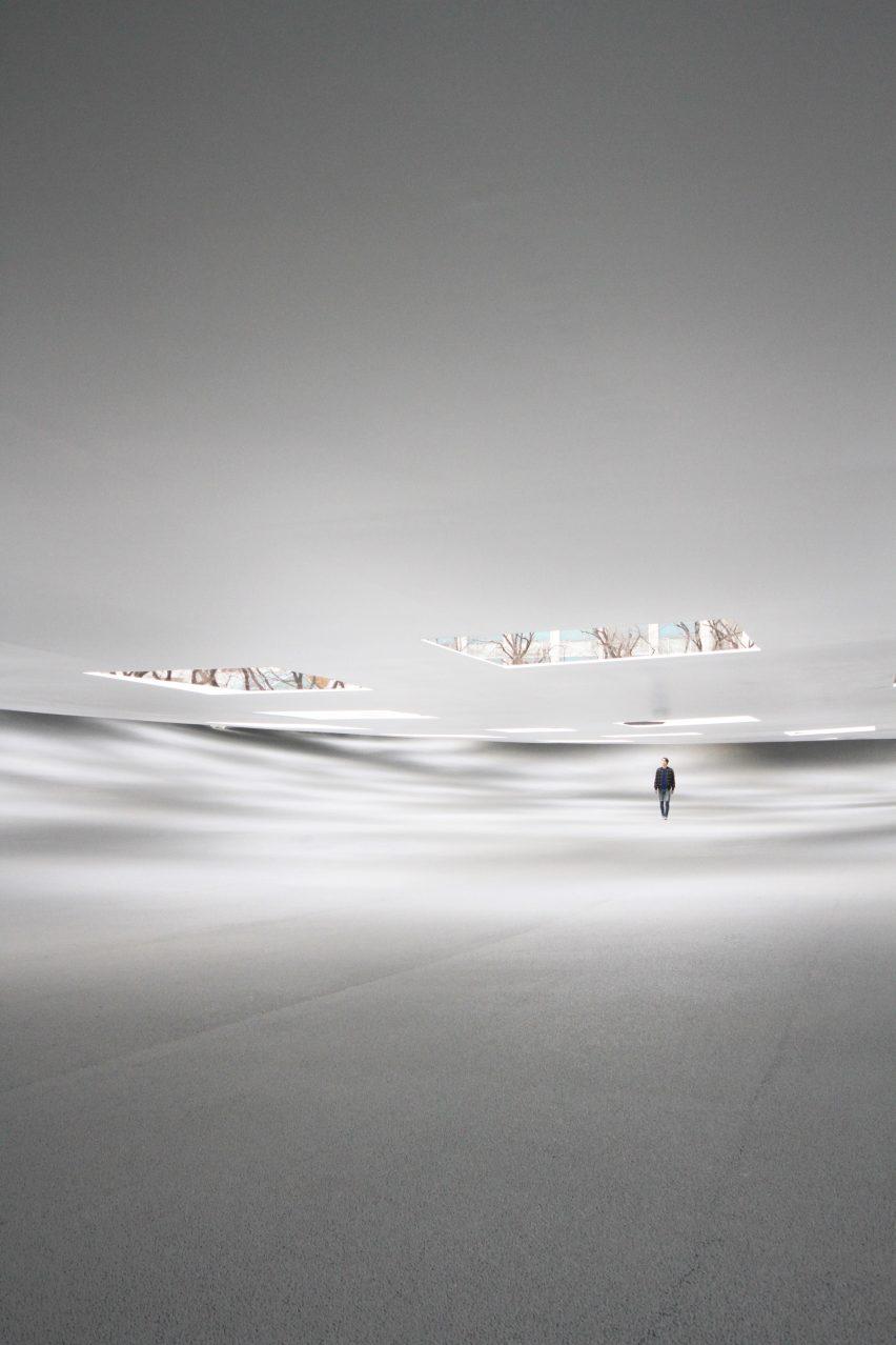 Inside a sheltered white plaza