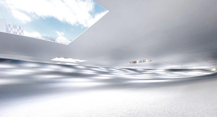A skylight of a sheltered white plaza