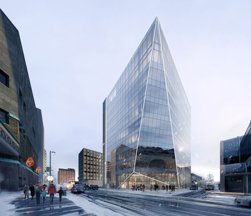 A visual of an Perkins and Will's renovation of the Key Bank Plaza office