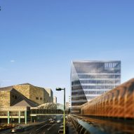 A visual of the glacier-like Key Bank Plaza office by Perkins and Will