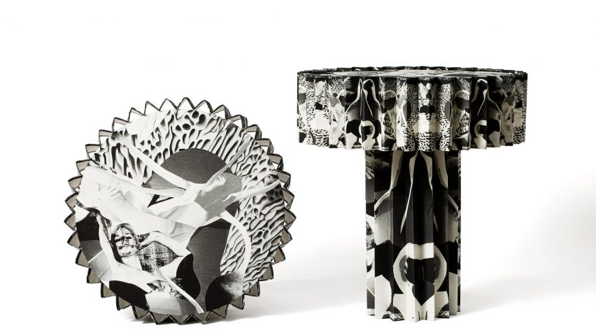 Patterned and pleated table lamps in black and white by Folkform