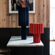 Blue and red pleated Plissé lamps