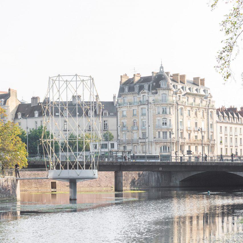 City view of Le Belvédère steel pavilion
