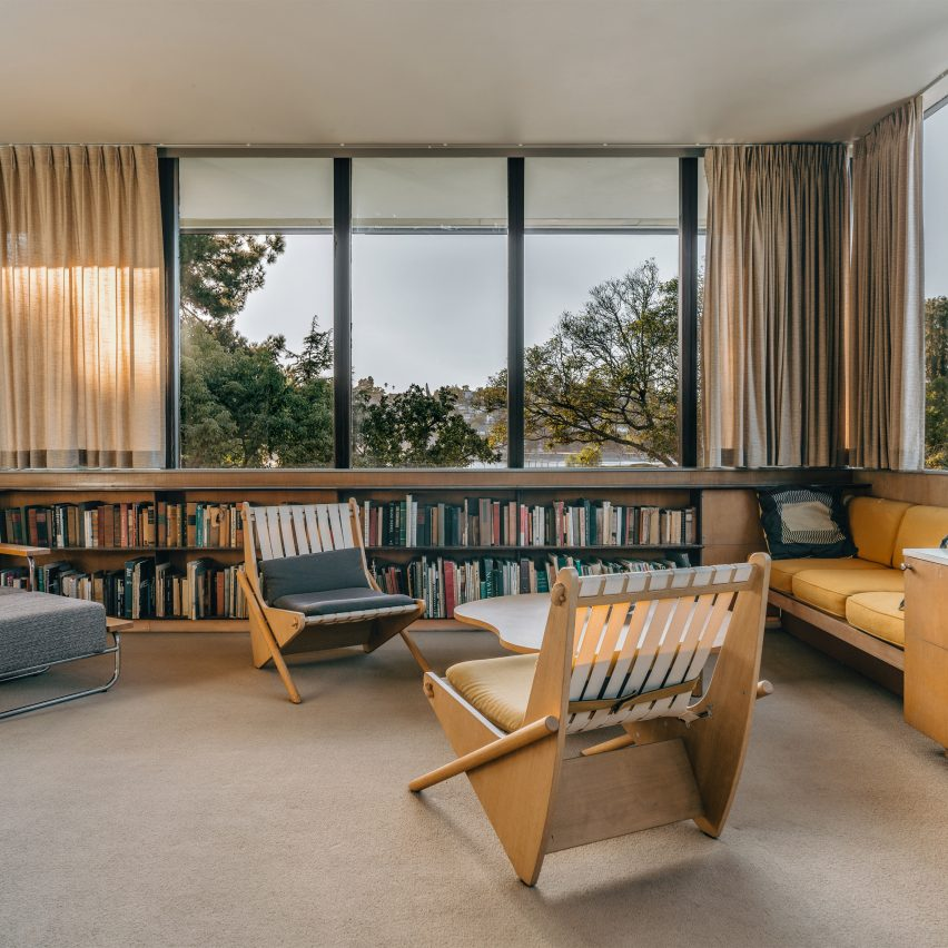 A mid-century-style living room
