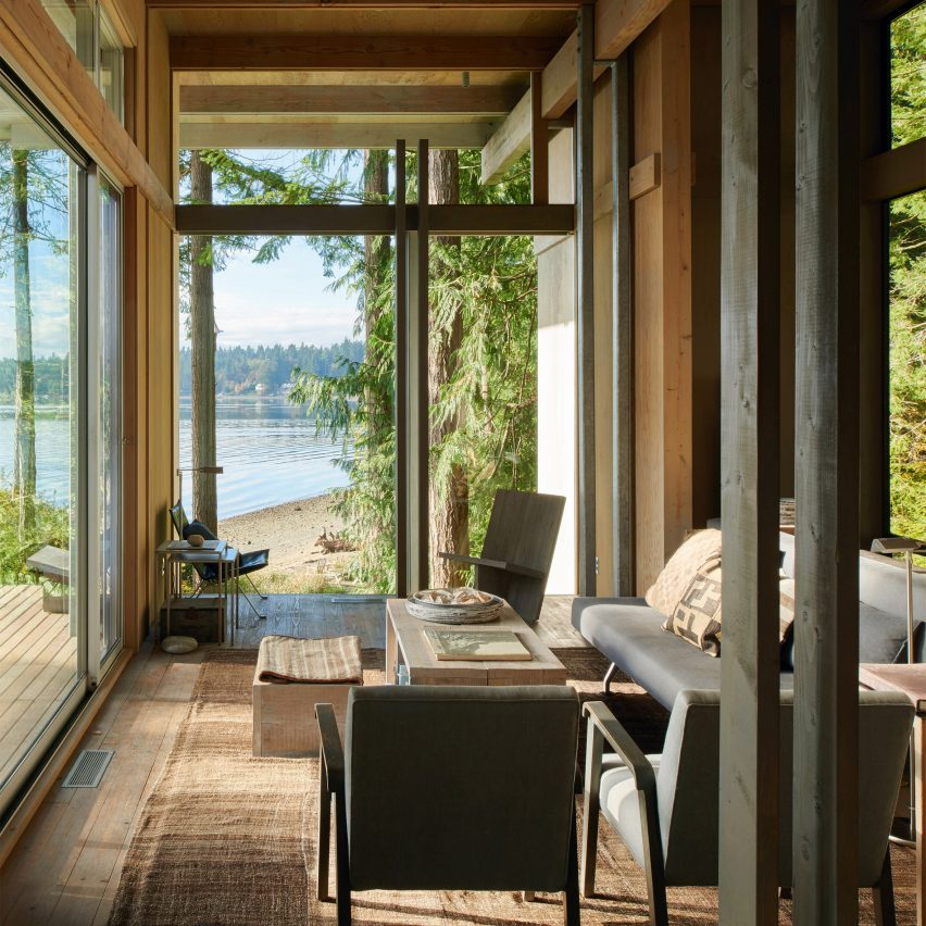 The living room of a timber cabin