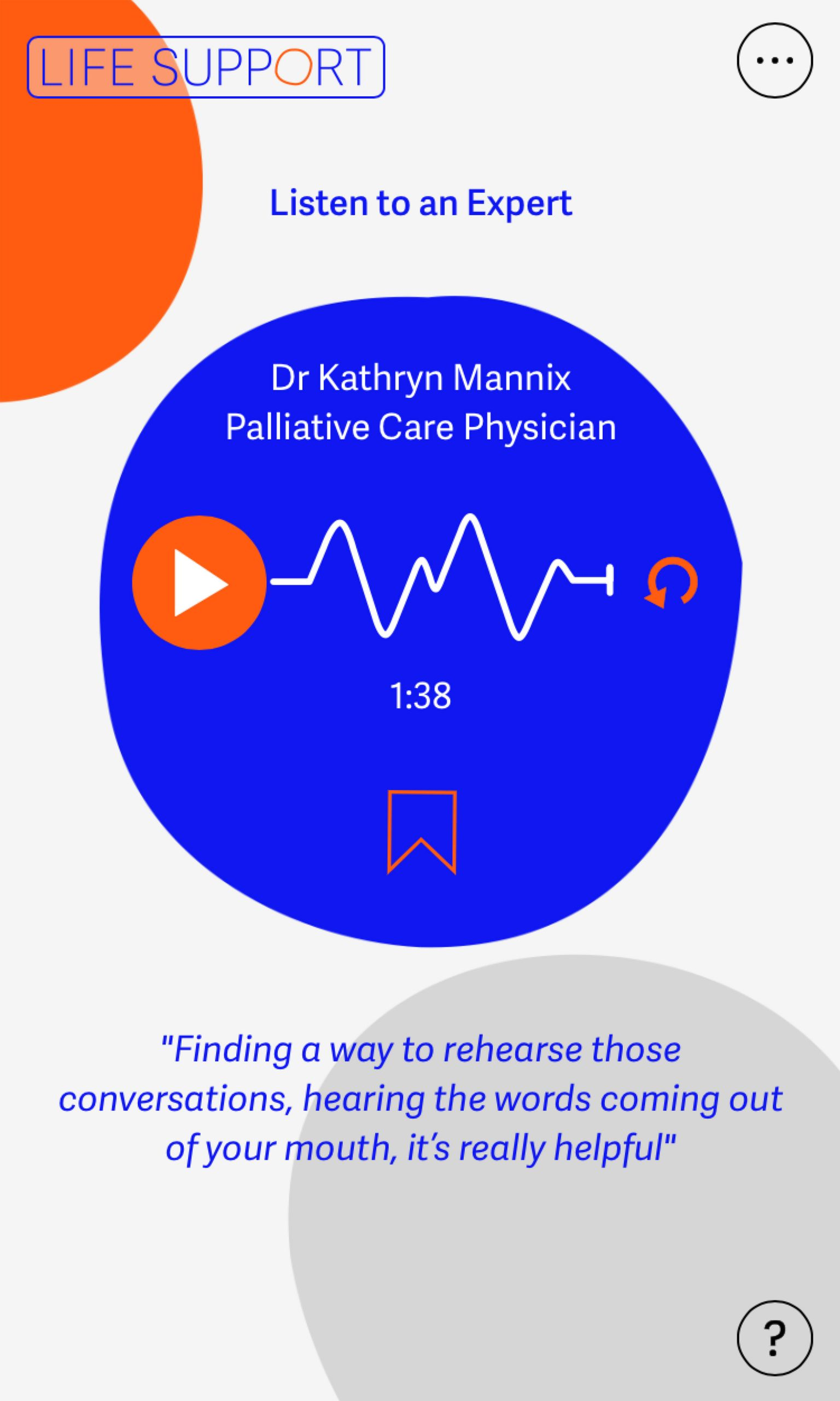 An audio clip from an expert in palliative care
