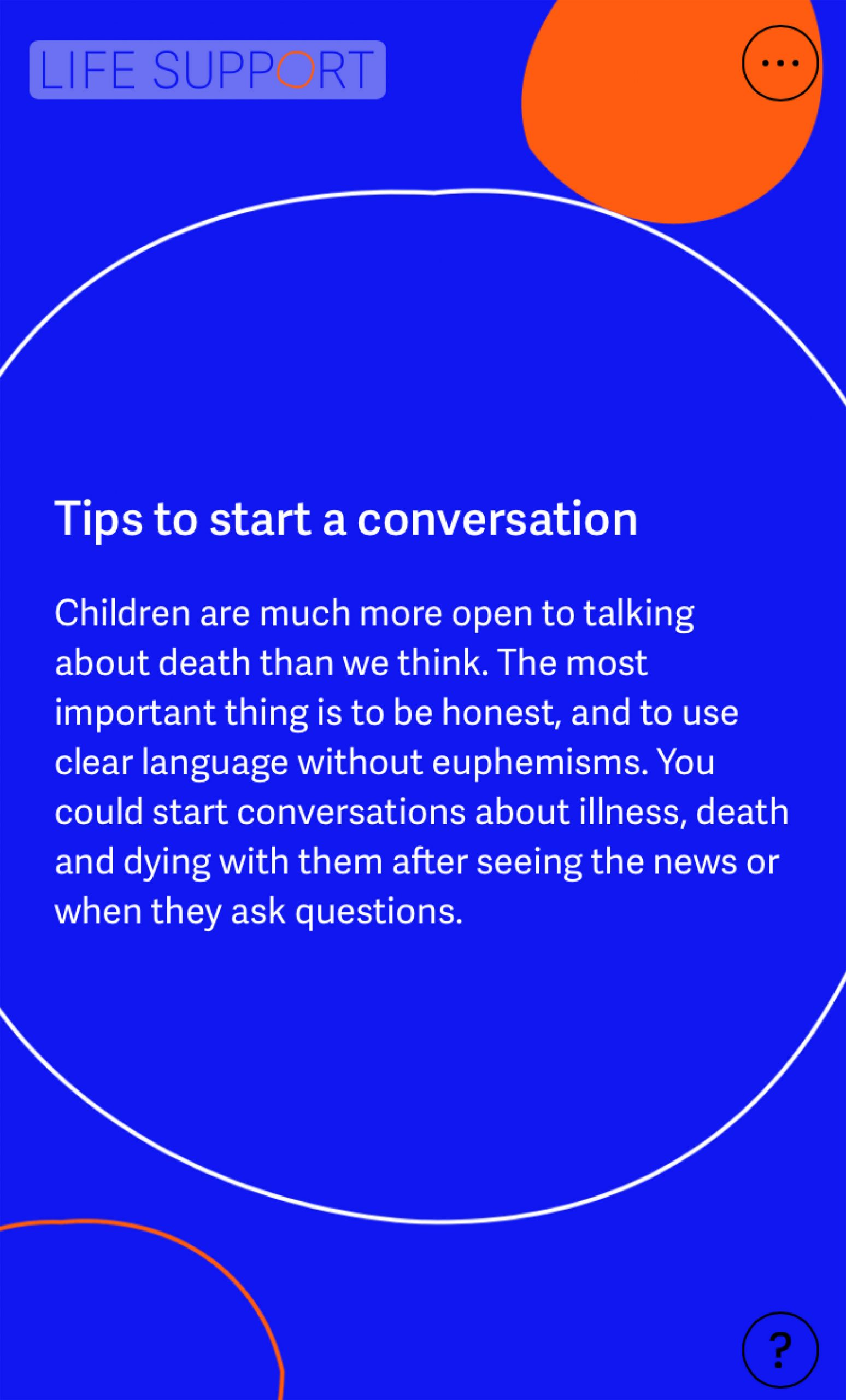 Tips to start a conversation with children about end of life