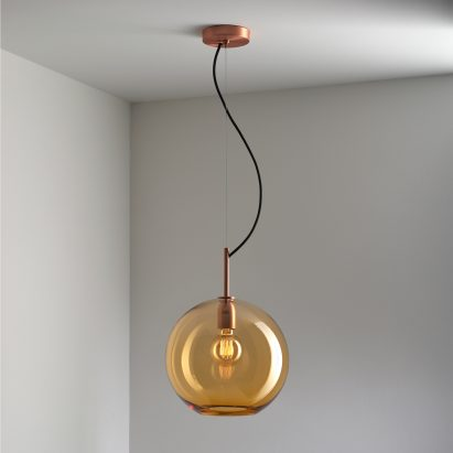 Sasha pendant light in aurora yellow by Lustre