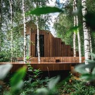 The wood-clad exterior of a holiday cabin in Estonia