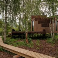 A cabin within woodland in Estonia