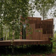 The stepped facade of a wooden holiday cabin