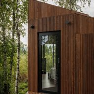 The dark-wood cladding of a bogland cabin
